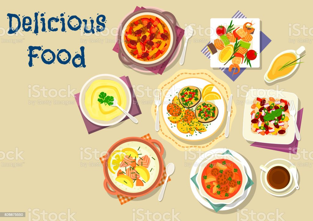 Soup and salad dishes icon for dinner menu design vector art illustration