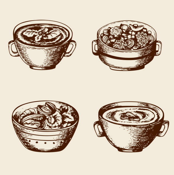 stockillustraties, clipart, cartoons en iconen met soup from seafood and vegetables - groentesoep