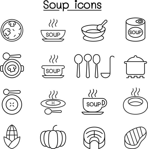Soup icon set in thin line style vector art illustration