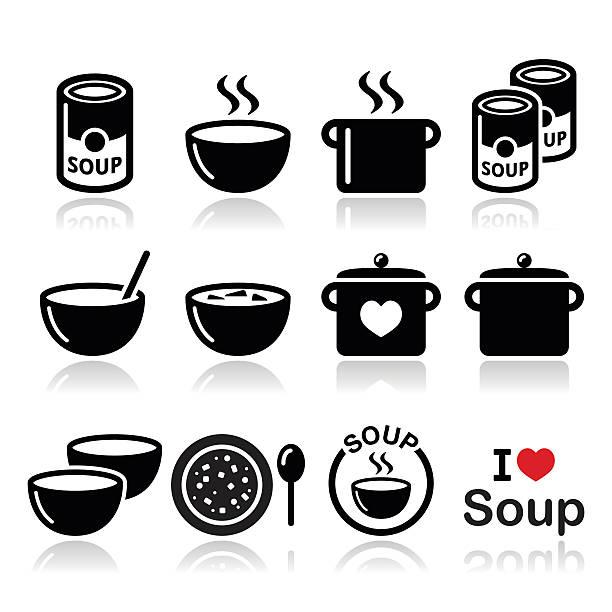 ilustrações de stock, clip art, desenhos animados e ícones de sopa na taça, pode e panela-conjunto de ícones de comida - latão