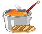 Soup in saucepan