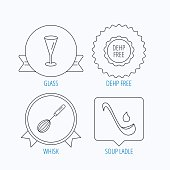 Soup ladle, glass and whisk icons.