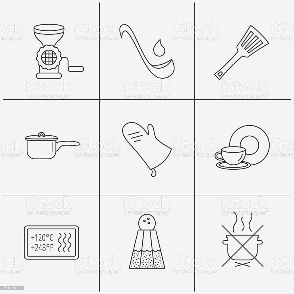 Suppe Kelle Potholder Und Küchenutensiliensymbol Stock Vektor Art ...