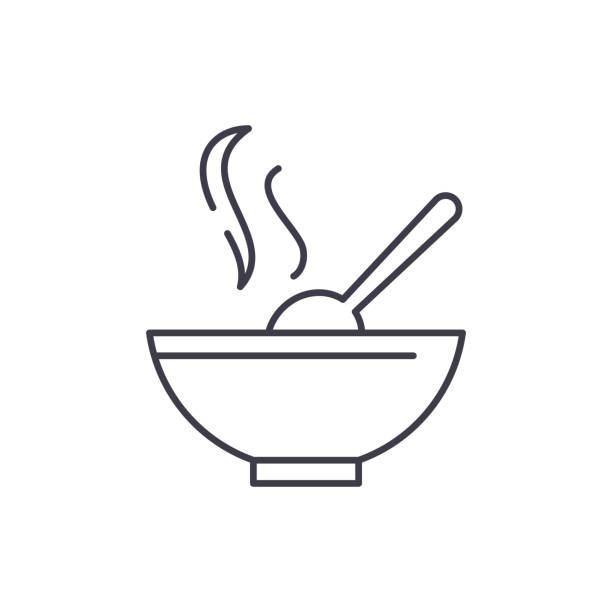 ilustrações de stock, clip art, desenhos animados e ícones de soup line icon concept. soup vector linear illustration, symbol, sign - tigela