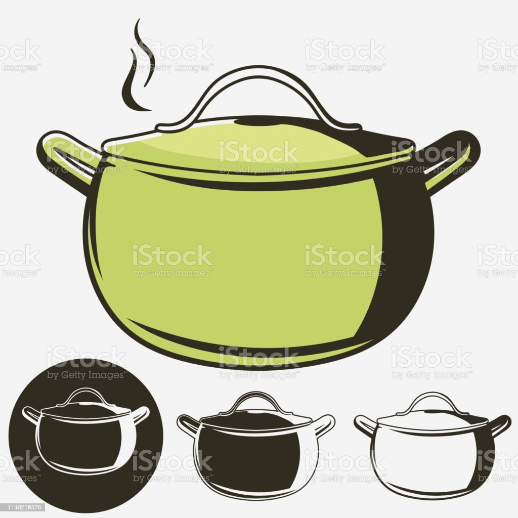Soup pan, Pot of hot soup icon isolated on white background. Vector