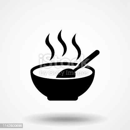 soup plate with steam hot lunch black icon on white background