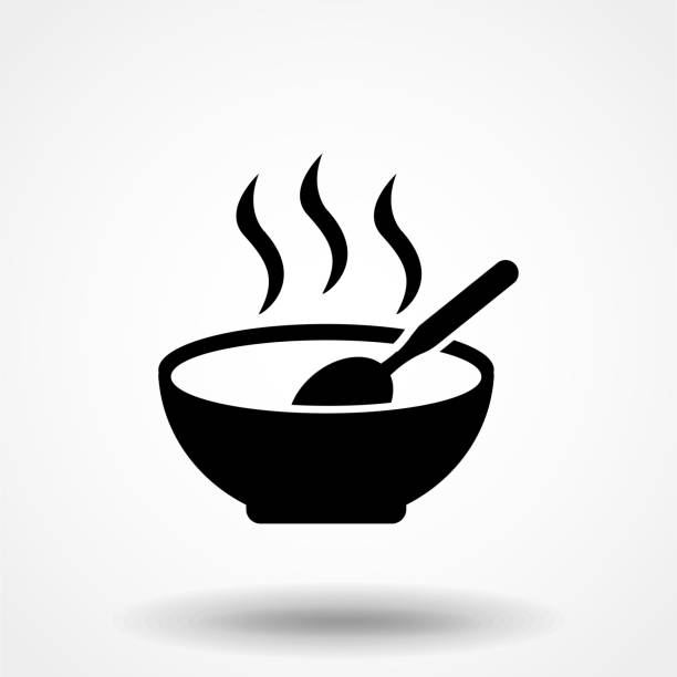 ilustrações de stock, clip art, desenhos animados e ícones de soup plate with steam hot lunch black icon on white background - tigela