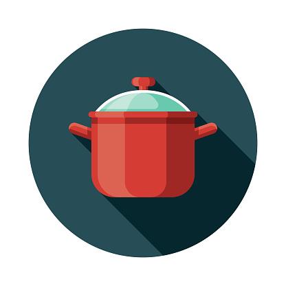 Soup Pot Flat Design Kitchen Utensil Icon