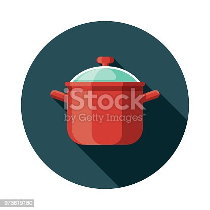 A colored flat design kitchen utensil icon with a long side shadow. Color swatches are global so it's easy to edit and change the colors.