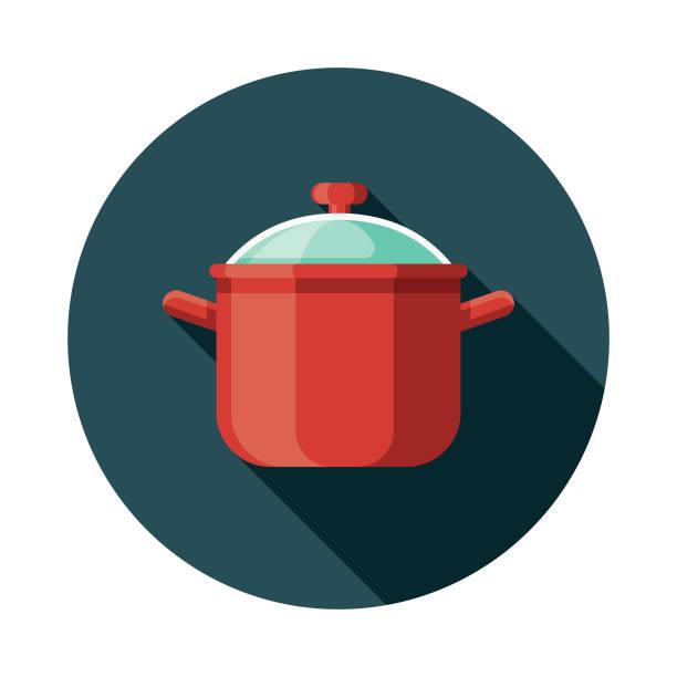 スープ鍋フラット デザイン台所道具アイコン - 鍋点のイラスト素材/クリップアート素材/マンガ素材/アイコン素材