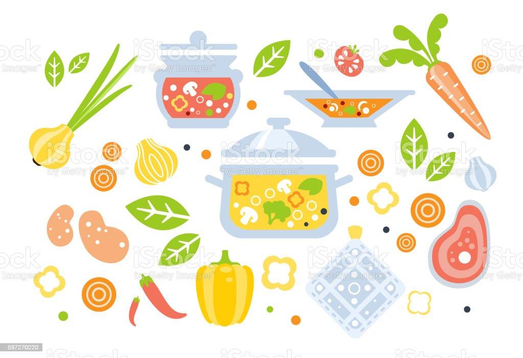 Soup Preparation Set Of Ingredients Illustration royalty-free soup preparation set of ingredients illustration stock vector art & more images of backgrounds