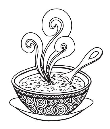 Soup sketch illustration - Illustration Soup, Food, Lunch, Carrot, Vegetable Soup