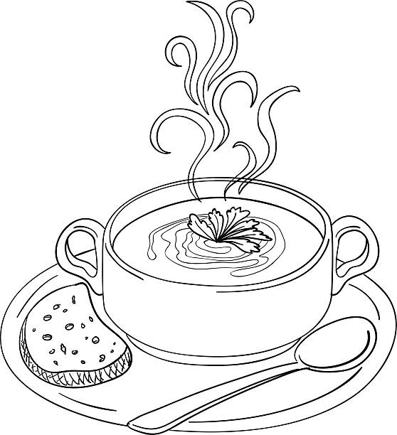 stockillustraties, clipart, cartoons en iconen met soup sketch illustration - groentesoep