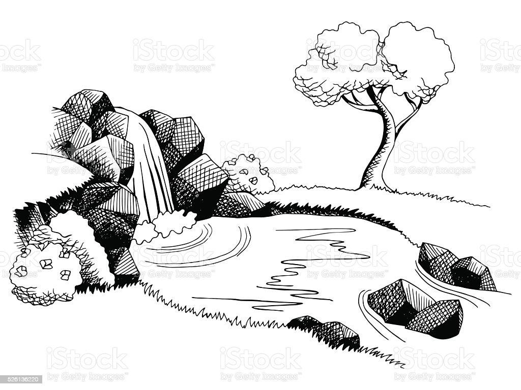 Landscape Illustration Vector Free: Source Waterfall Graphic Art Black White Landscape