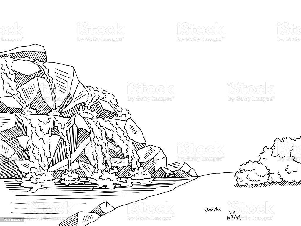 Spring River Graphic Black White Landscape Sketch Illustration Vector Clip  Art, Vector Images U0026 Illustrations