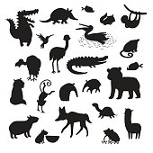 Sourth America animals silhouettes, isolated on white background vector illustration