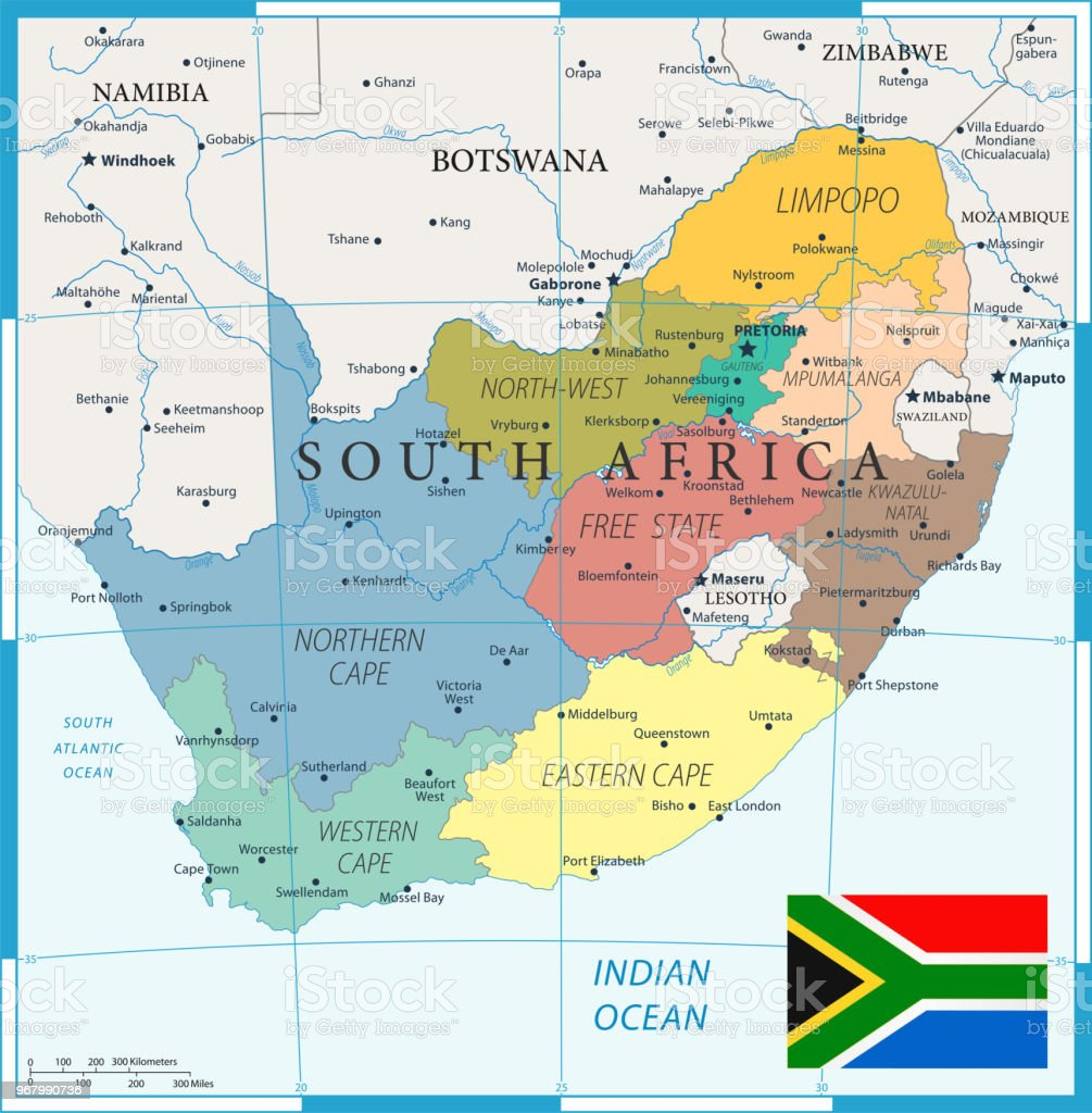 Cartina South Africa.27 South Africa Color1 10 Stock Illustration Download Image Now