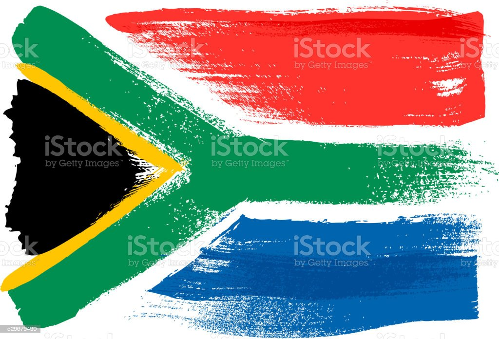 South Africa colorful brush strokes painted flag vector art illustration
