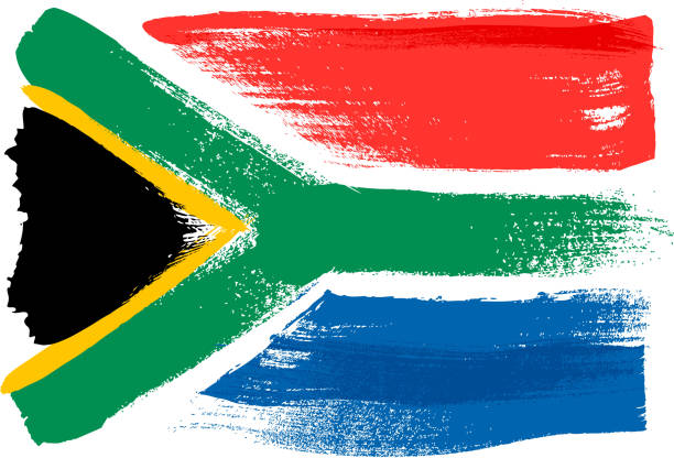 bildbanksillustrationer, clip art samt tecknat material och ikoner med south africa colorful brush strokes painted flag - south africa