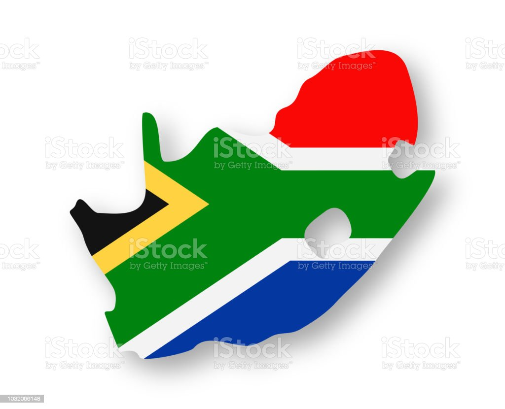 South Africa - Contour Country Flag Vector Flat Icon vector art illustration