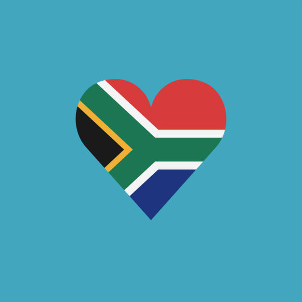 South Africa flag icon in a heart shape in flat design vector art illustration