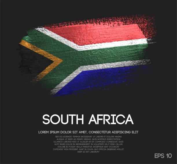 bildbanksillustrationer, clip art samt tecknat material och ikoner med syd afrika flagga gjord av glitter sparkle brush paint vektor - south africa