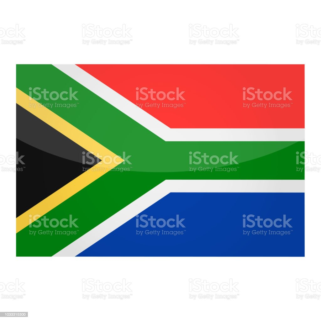 South Africa - Flag Vector Glossy Icon vector art illustration