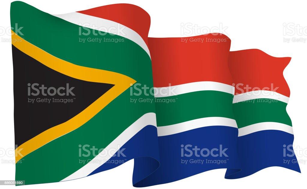 South Africa Flag Waving Vector Illustration vector art illustration