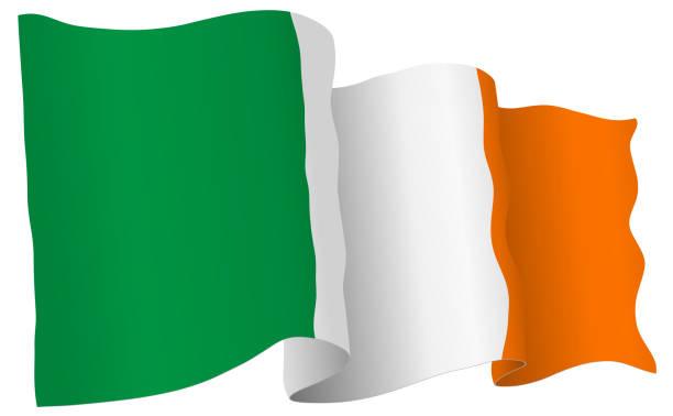 ilustraciones, imágenes clip art, dibujos animados e iconos de stock de sudáfrica bandera ondeando ilustración vectorial - bandera irlandesa