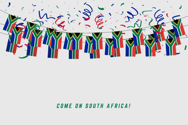 bildbanksillustrationer, clip art samt tecknat material och ikoner med sydafrika garland flagga med konfetti på grå bakgrund, hänga sparv för sydafrika celebration mall banner. - south africa