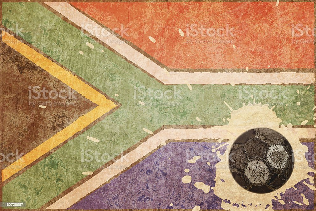 South Africa grunge flag and old football royalty-free stock vector art