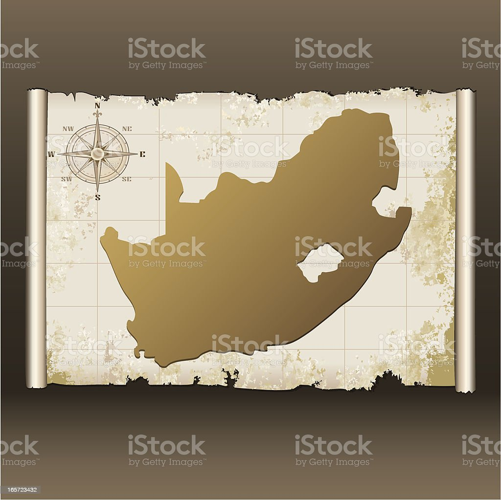 South Africa grunge map on scroll royalty-free stock vector art