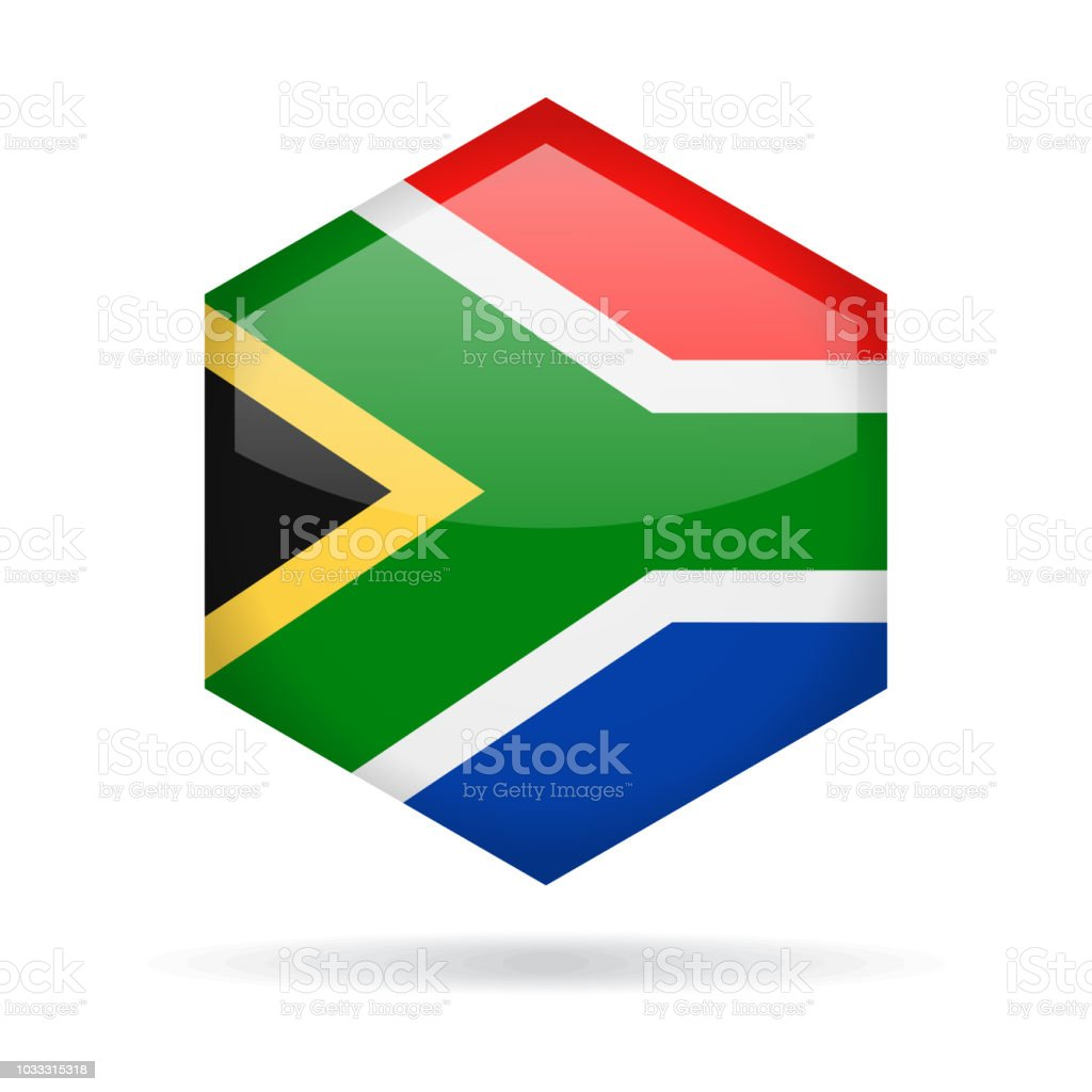 South Africa - Hexagon Flag Vector Glossy Icon vector art illustration