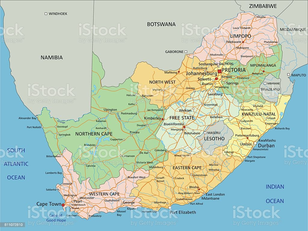 South Africa - Highly detailed editable political map with labeling. vector art illustration