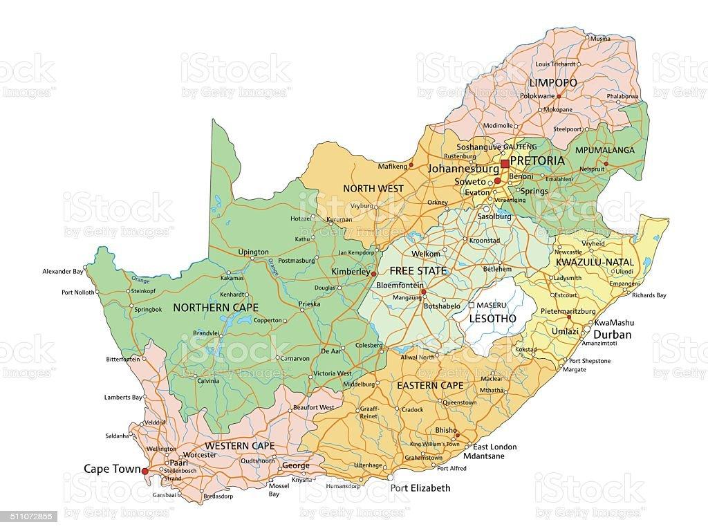 Cartina Africa Del Sud.Sud Africaaltamente Dettagliata Modificabile Mappa Politica Di