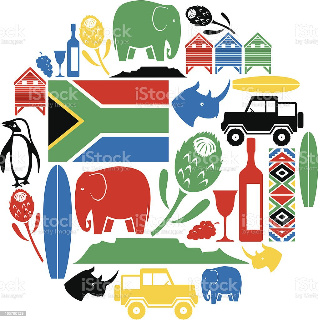 South Africa Icon Montage vector art illustration