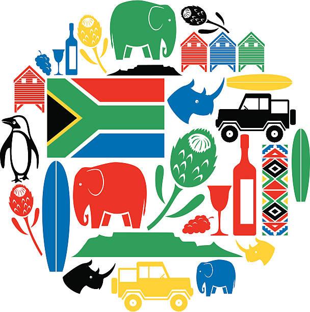 bildbanksillustrationer, clip art samt tecknat material och ikoner med south africa icon montage - south africa