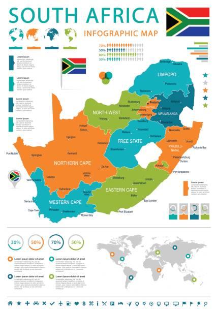 bildbanksillustrationer, clip art samt tecknat material och ikoner med sydafrika - karta och flagga - illustration - south africa