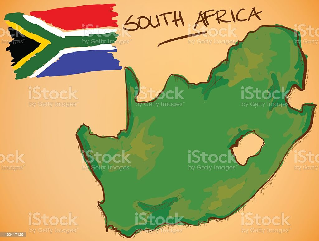 South Africa Map and National Flag Vector vector art illustration