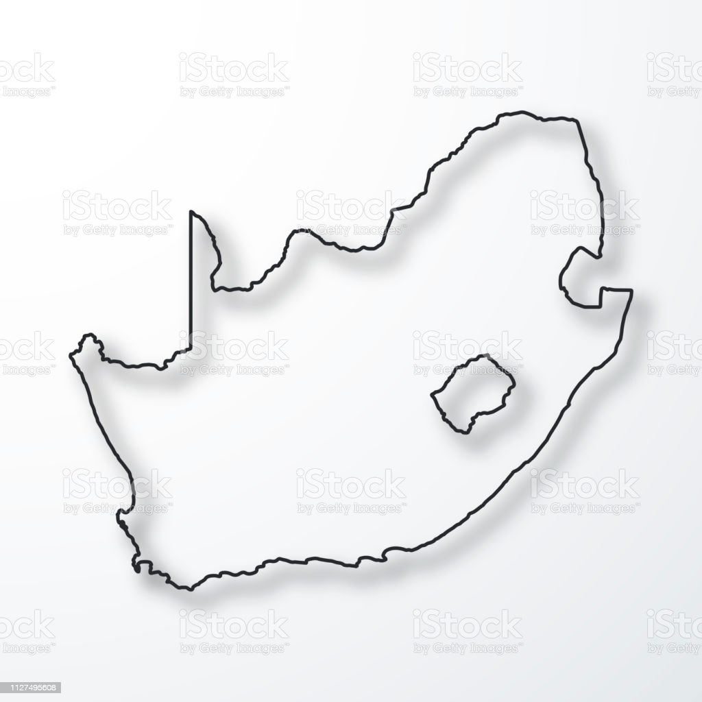 South Africa Map Black Outline With Shadow On White Background Stock