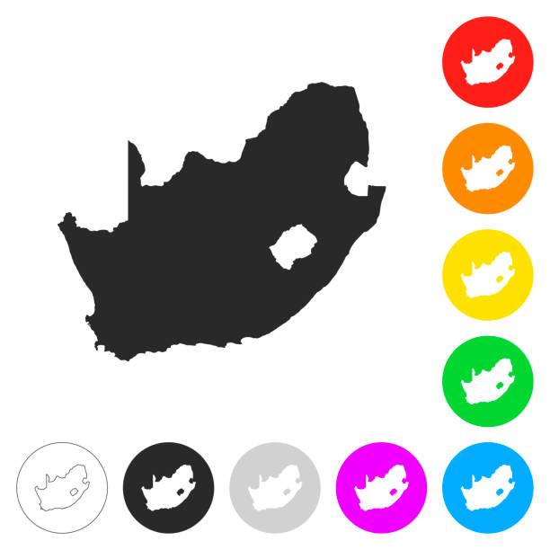 bildbanksillustrationer, clip art samt tecknat material och ikoner med sydafrika karta - platt ikoner på annan färgknappar - south africa