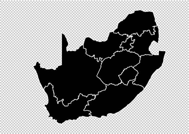 bildbanksillustrationer, clip art samt tecknat material och ikoner med sydafrika karta-hög detaljerad svart karta med län/regioner/stater i sydafrika. sydafrika karta isolerad på transparent bakgrund. - south africa
