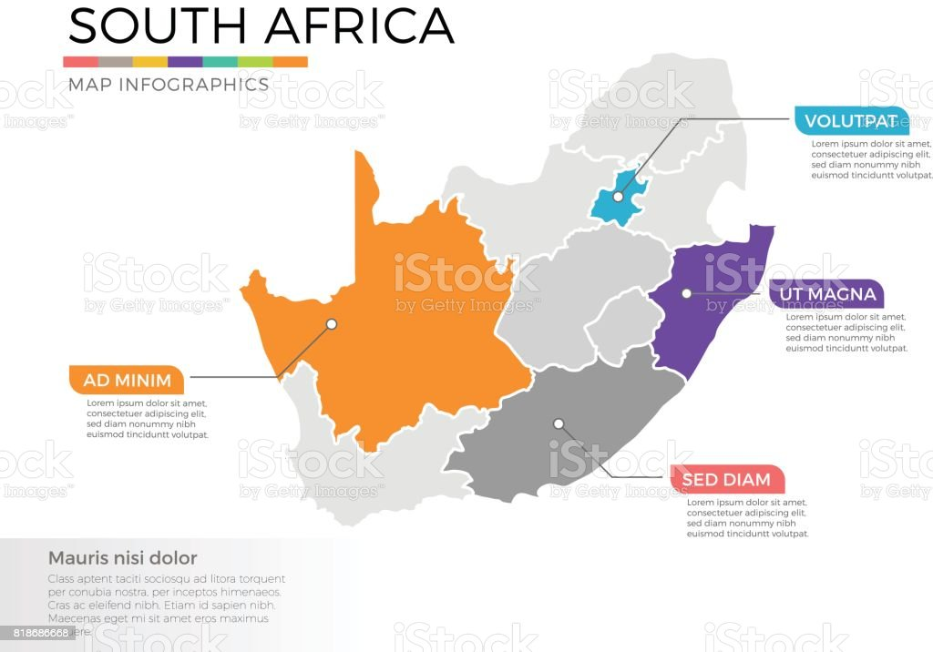 south africa map infographics vector template with regions and