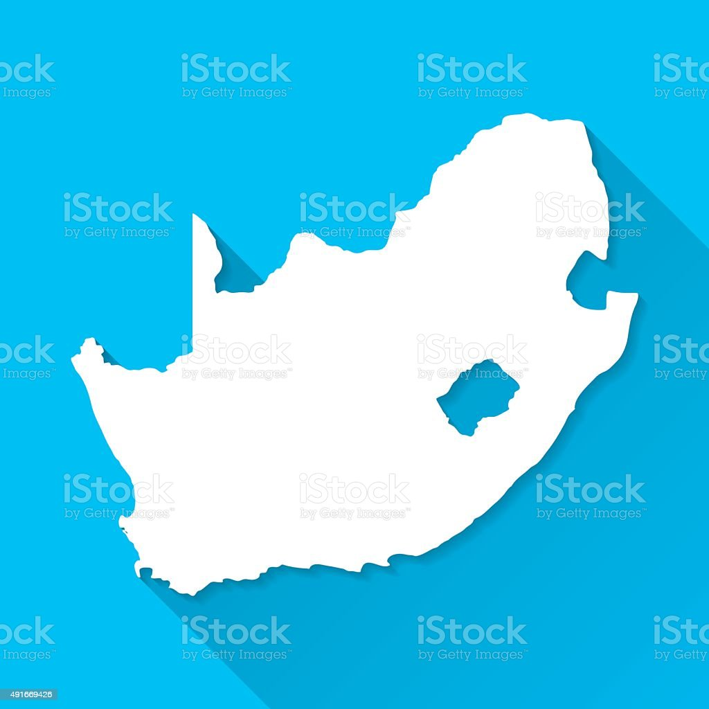 South Africa Map on Blue Background, Long Shadow, Flat Design vector art illustration