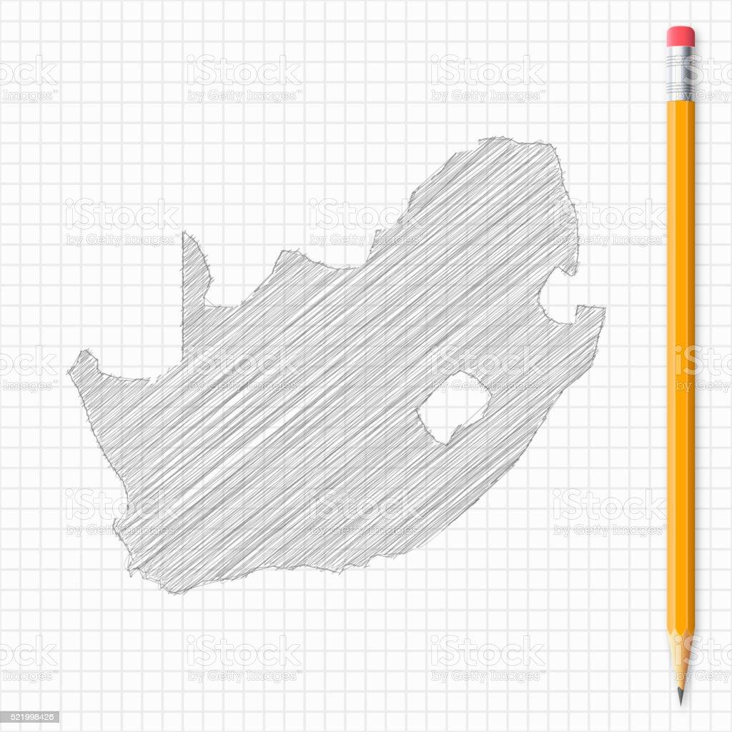 24fd0e5d87ed Südafrika Karte Skizze Mit Bleistift Auf Raster Papier Stock Vektor ...
