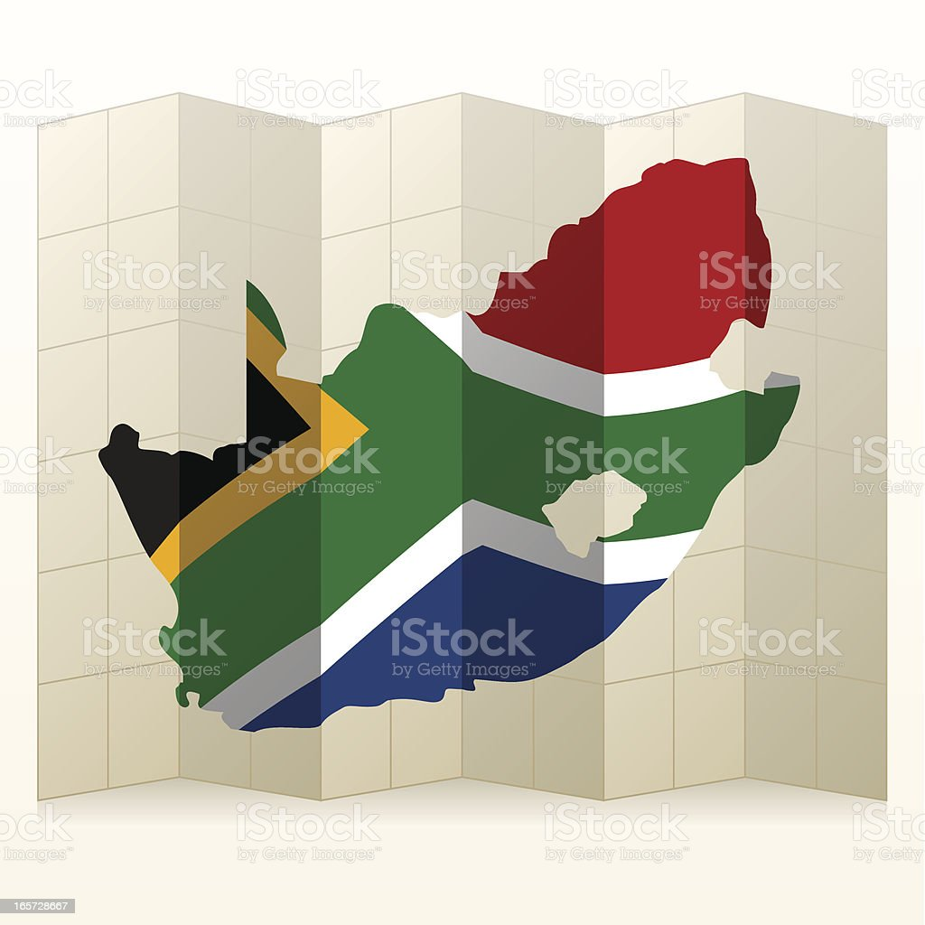 South Africa map unfolded royalty-free stock vector art