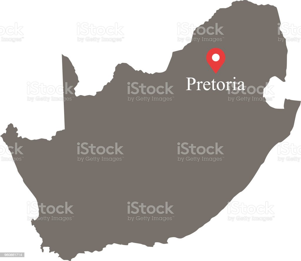 South Africa Map Vector Outline With Provinces Or States Borders And ...