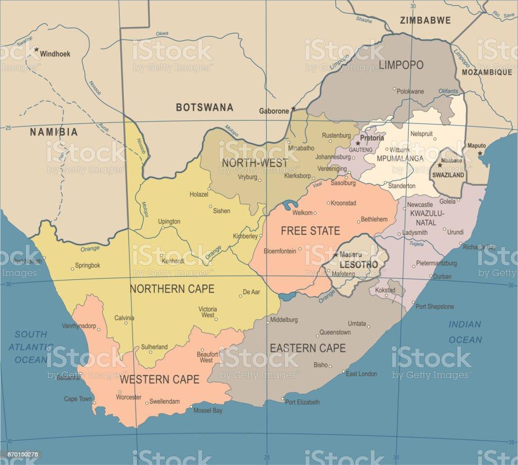 Südafrika Karte.Südafrika Karte Vintage Vektorillustration Stock Vektor Art Und Mehr