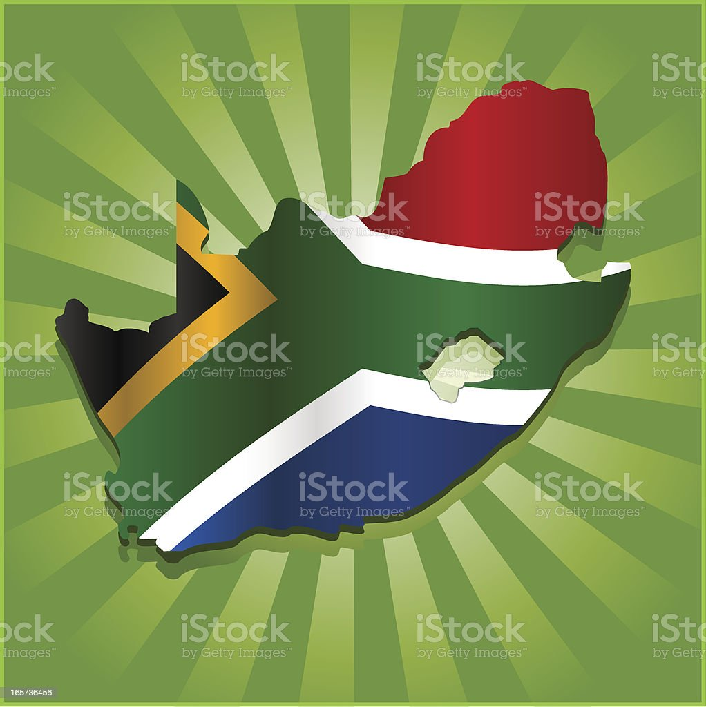 South Africa Map with Flag royalty-free stock vector art