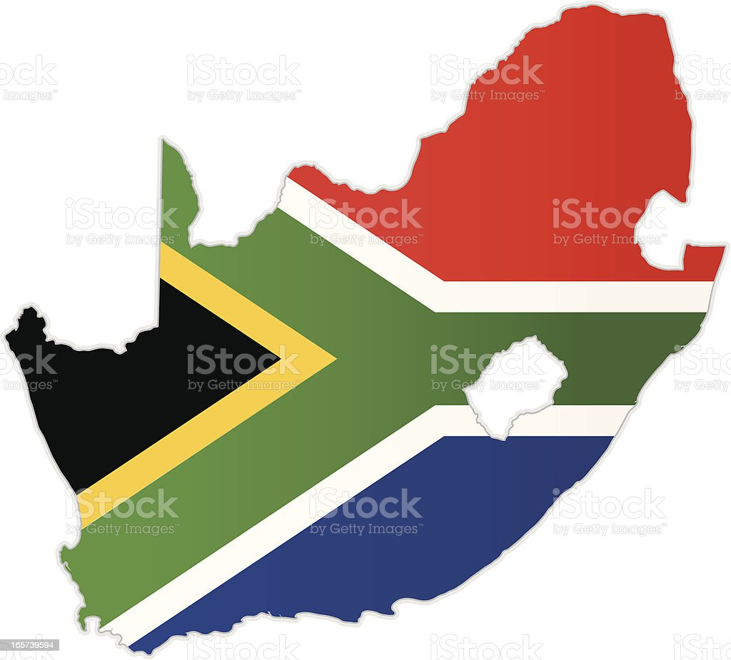 South Africa map with flag vector art illustration